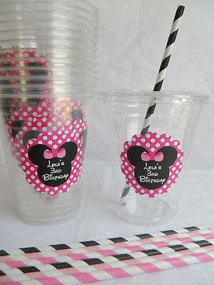 Set of 24- Personalized Minnie Mouse Birthday Party Cups with Lids and Straws