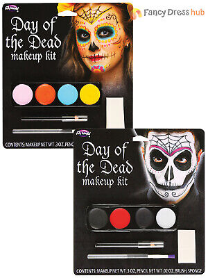 Day Of The Dead Make Up Kit Ladies Mens Fancy Dress Face Paint