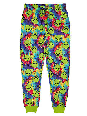 Mens Tie Dyed Aliens Jogger Style Sleep Pants Lounge Pants Pajama Bottoms - Alien Pants