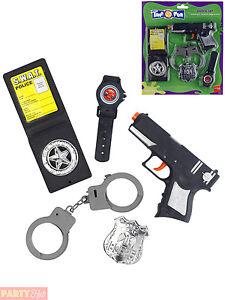 Childs Police Gun Handcuffs, Badge + Watch Set Cop Fancy Dress Accessory Kids