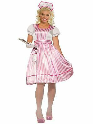 Classic Candy Striper Pink Nurse Plus Size Fancy Dress Halloween Adult Costume