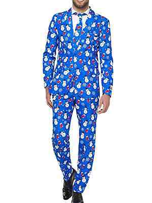 Mens Blue Snowman Ugly Holiday Christmas Suit Sportscoat Slacks & Tie S for sale  Richland