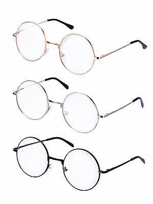 Metall Frame Runde Brille Retro Metall Klare Linse Brille, Unisex, Schwarz