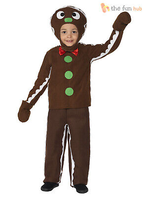 Gingerbread Man Costume Child (Kids Gingerbread Man Costume Boys Nativity Christmas Fancy Dress Outfit)