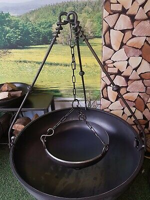Fire Pit Brazier Logburner Wrought Iron Cooking Bowl & Chain ONLY