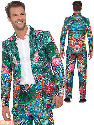Mens Hawaiian Costume (Mens Hawaiian Tropical Flamingo Suit Stag Stand Out Outfit Costume Summer)