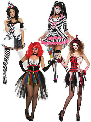 Jester Halloween Costumes Adults (Ladies Evil Clown Jester Costume Adults Circus Halloween Fancy Dress Womens)