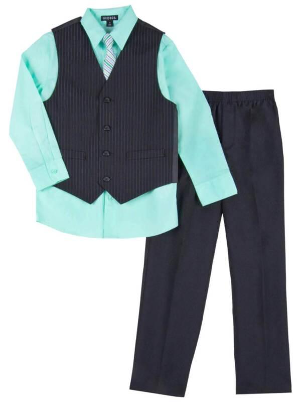Boys 4 Piece Suit Mint & Black Dress Up Outfit Holiday Shirt Tie Pants & Vest