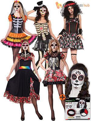 Ladies Day Of The Dead Costume + Make Up Adult Skeleton Fancy Dress Womens - Womens Skull Kostüm