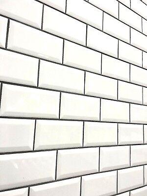White 3x6 Beveled Shiny Glossy Finish Ceramic Subway Tile Backsplash Wall Bath