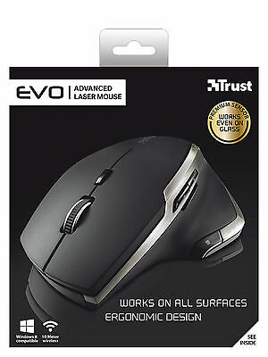 Trust Wireless Laser (TRUST EVO ADVANCED LASER WIRELESS 2400 DPI ERGONOMIC MOUSE WORKS ON ALL SURFACES)