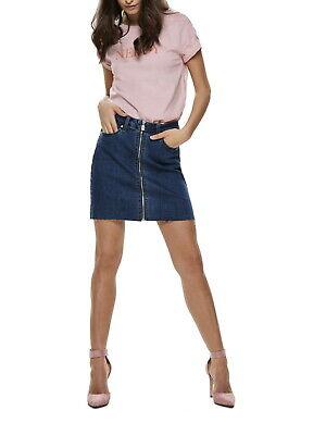 Blaue Jeans Kleidung (Only Damen Rock Jeans-Rock mit Reißverschluss onyPearl Zipper blau high waist)