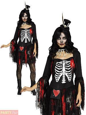 Ladies Voodoo Queen Costume Womens Skeleton Halloween Fancy Dress Horror Outfit - Womens Skeleton Outfit
