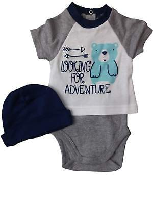 Infant Boys Looking For Adventure Blue Gray Bear Bodysuit & Beanie Outfit