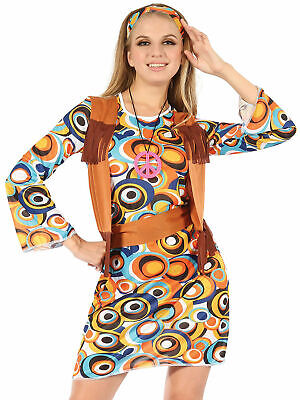 Ladies 60s 70s Hippy Mod Fancy Dress Costume - 70's Mod Kostüme