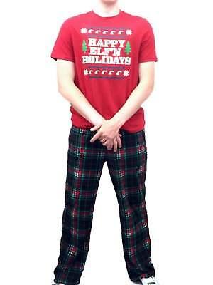 Mens Elf Sleep Set Fleece Lounge Pants & Shirt Happy Elfin Holidays Pajamas - Mens Elf Pajamas