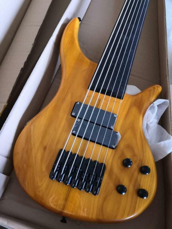 LS Customshop 7 String Fretless Electric Bass Guitar Solid Body Black Hardware