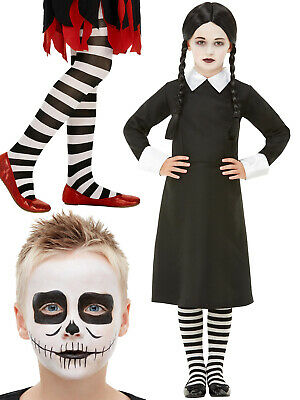 Girls Gothic School Girl Costume + Wig Halloween Ghost Film Family Fancy Dress