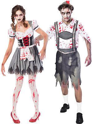 Mens Oktoberfest Costumes (Adult Oktoberfest Zombie Costume Mens Ladies Halloween Fancy Dress Outfit)
