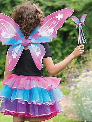 Girls Deluxe Garden Fairy Wings Wand Frilly Tutu Fancy Dress Costume Butterfly