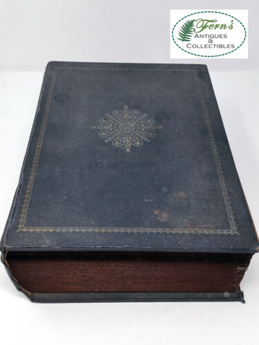 Early, vintage poker chips in book style leather covered wooden box