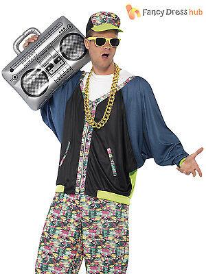 Adult 80s Hip Hop Costume Rapper MC Fancy Dress Mens Vanilla Ice Hammer Boom Box