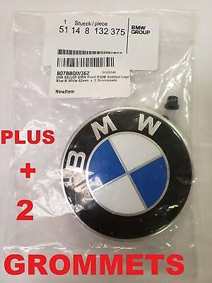 BMW Hood roundel emblem logo replacement hood 82mm + 2 Grommets for ALL Models B