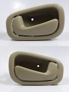 PAIR LH & RH Inside Door Handle TAN/BEIGE for 98-02 Toyota Corolla & Chevy Prizm