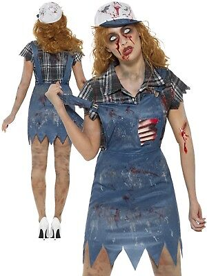 Zombie Hillbilly Costume Ladies Country Girl Halloween Horror Fancy Dress Outfit - Hillbilly Halloween Costumes Female