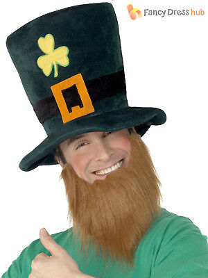 Adult Leprechaun Hat Men Ladies St Patricks Day Fancy Dress Accessory with Beard - Costume For Men With Beards