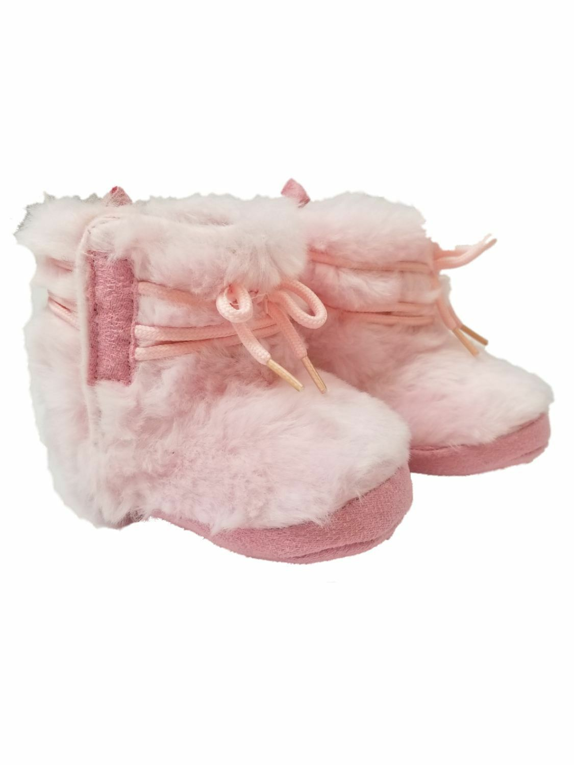 Infant Girls Pink Faux Fur Booties Slipper House Shoe Baby Boots