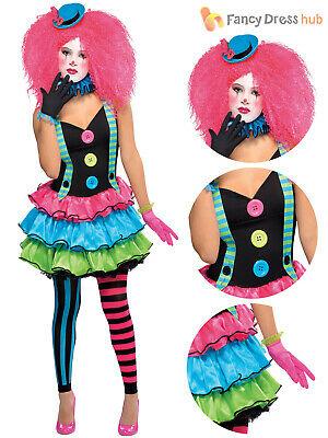 Ladies Clown Costume Adults Cool Halloween Fancy Dress Womens Circus Outfit