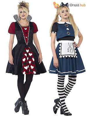 Dark Queen Hearts Kostüme (Ladies or Teen Girls Dark Alice Queen of Hearts  Costume Halloween Fancy Dress )