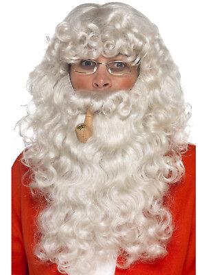 Deluxe Santa Kit ~ Wig ~ Beard ~ Glasses & Pipe fantastic value - Santa Kostüm Kit