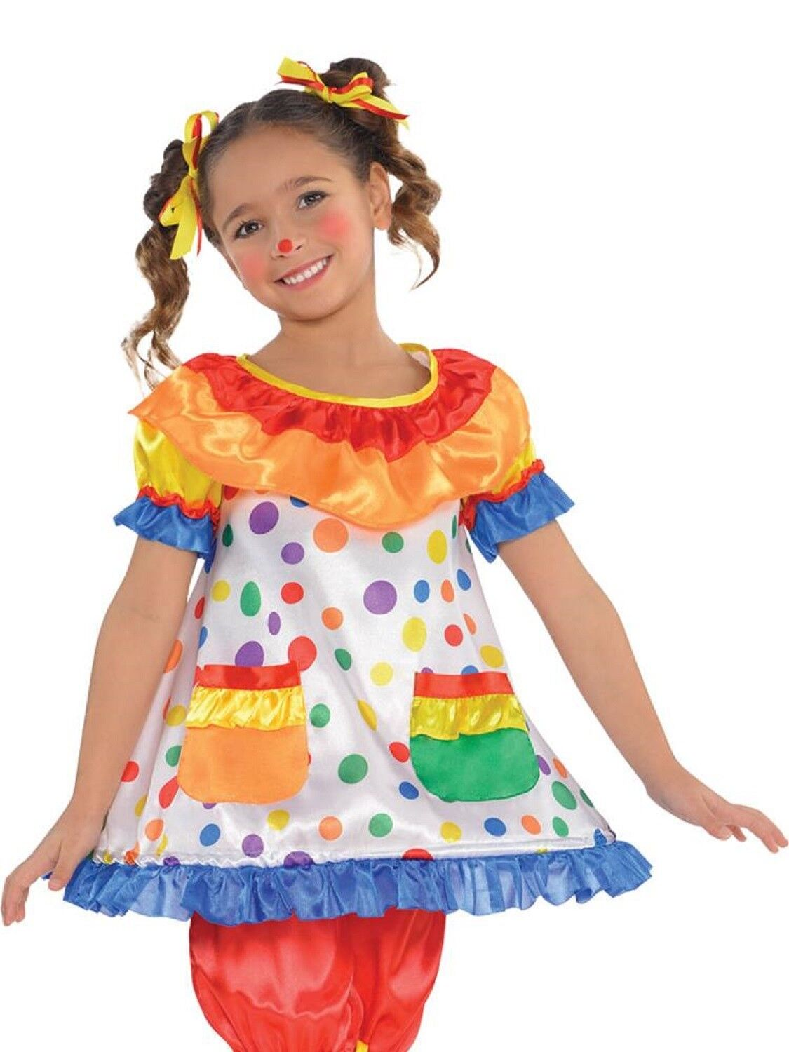 Boys Girls Spotty Red Hooped Waist Clown Circus Fancy Dress Costume Outfit 4-14y