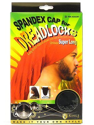King J Spandex Cap for Dreadlocks Unisex Cover Loc Super Long #705 Assort Colors - Hat For Dreadlocks