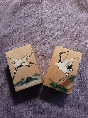 Red Crown Cranes Wooden Hand Painted Trinket/Jewelry Box