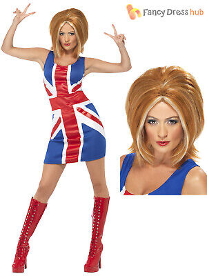 Ginger Spice Costume (Ladies Ginger Spice Costume Adults Spice Girls Fancy Dress Union Jack UK 8 -)