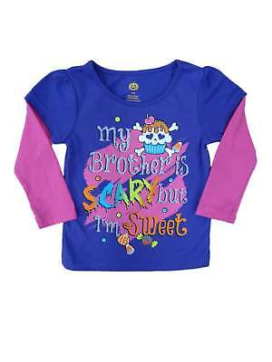 Happy Halloween Infant Girls My Brother Is Scary But I'm Sweet T-shirt Shirt 12m (My Halloween Sweets)