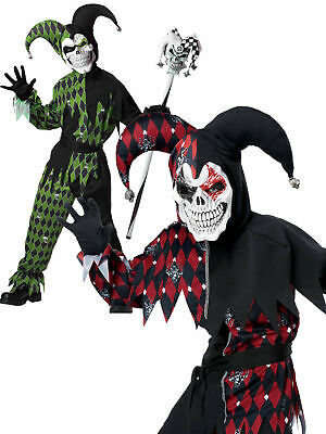 Boys Evil Scary Jester Killer Clown Costume Halloween Fancy Dress Kids Circus