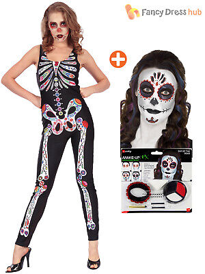 Ladies Day Of The Dead Skeleton Costume + Make Up Catsuit Halloween Fancy Dress - Day Of The Dead Halloween Costume Makeup