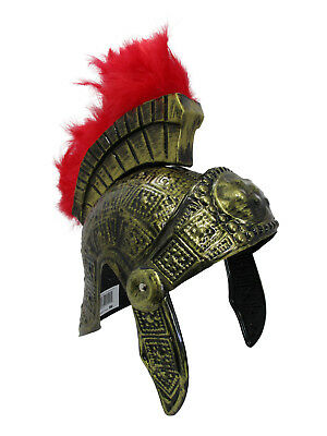 Roman Costume Helmet (Gold Roman Helmet Spartan Helmet Greek With Red Feathers Armor Gladiator)
