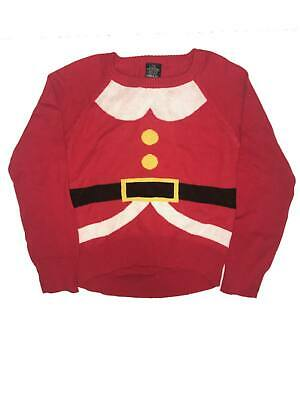 Girls Ugly Sweater (Girls Red Santa Suit Ugly Christmas Sweater Long Sleeve Holiday)