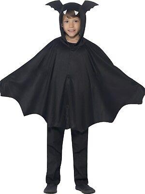 MÄDCHEN JUNGEN MIT KAPUZE FLEDERMAUS Schwarz geflügelter Umhang Halloween Kostüm