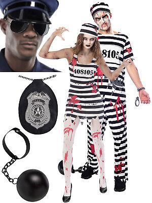 Adult Zombie Convict Costume Mens Ladies Prisoner Halloween Fancy Dress