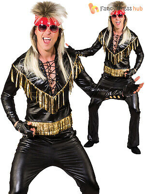 Mens Rock Star Costume Adults 80s Rocker Kiss Fancy Dress 1980s Punk - 1980's Punk Rock Kostüm