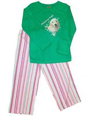 Girls Christmas Cutie Labrador Dog Pajamas Pink & Green Holi