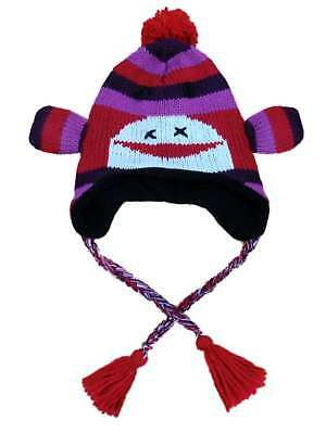 Manhattan Hat Company Womens Purple Knit Sock Monkey Peruvian Style Trapper Hat (Sock Monkey Company)