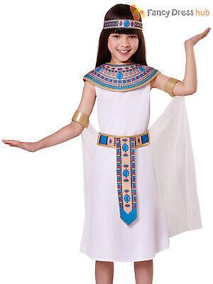 Girls Egyptian Queen Costume Childs Cleopatra Fancy Dress Kids History (Childs Cleopatra Kostüm)