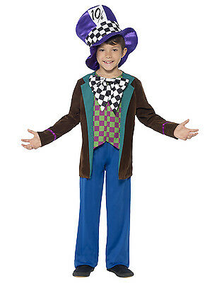 Deluxe Mad Hatter Costume Boys Childs Outfit Hat Jacket Halloween Childrens Kids (Mad Hatter Kids Costumes)